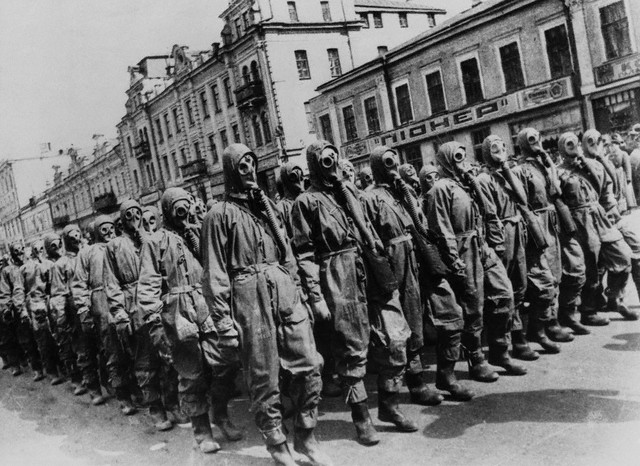 Gas mask drill on the Khreshchatyk, Kiev, May 1st, 1941.