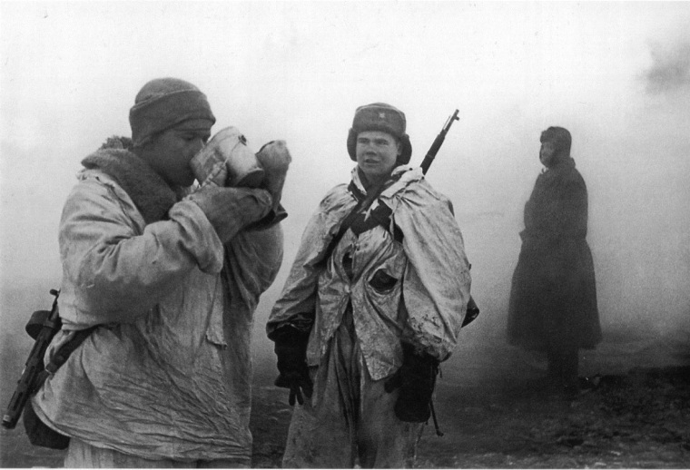 Soviet soldiers at the Leningrad Front